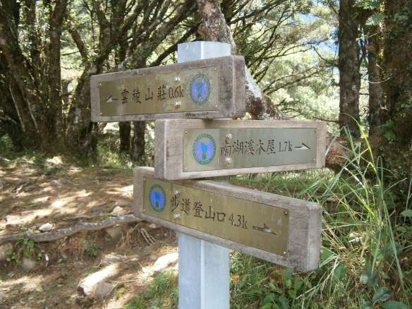 The junction, marking the trail split and 1.7km south to the Nanhu river cabin.