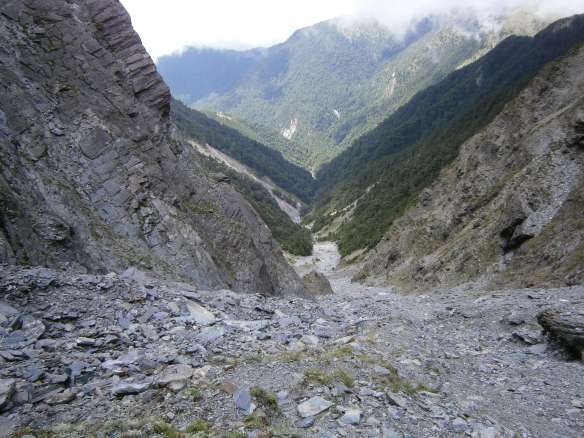 Looking down the scree slope from near the top.