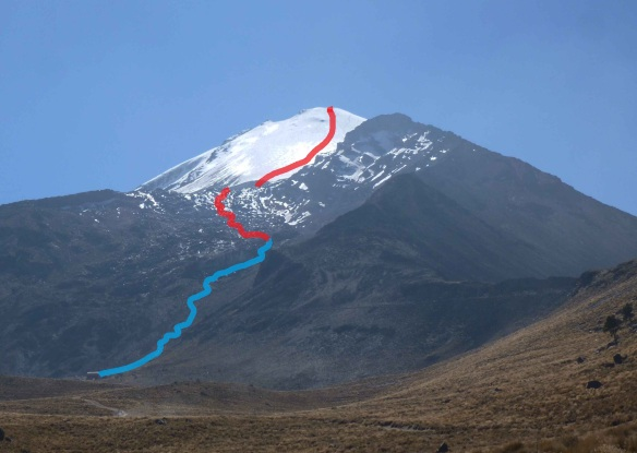 A rough outline of my route - day 1 blue, day 2 red..