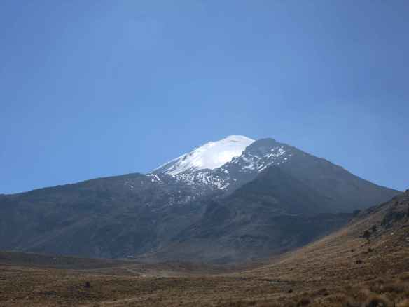 The Piedra Grande hut at the base of Orizaba (lower-left corner).