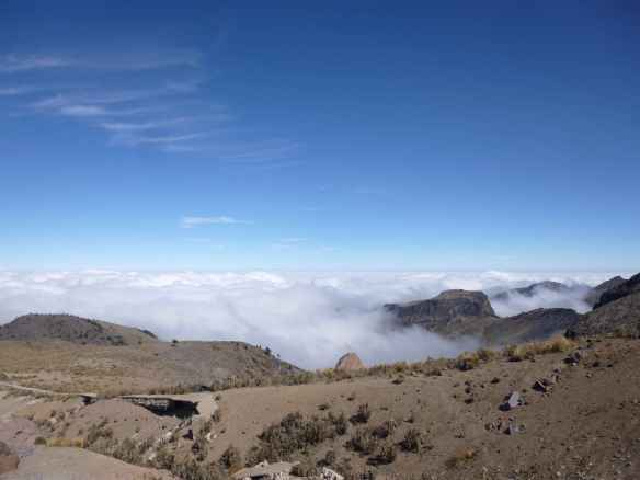 Looking south, above the clouds at the base of Orizaba.