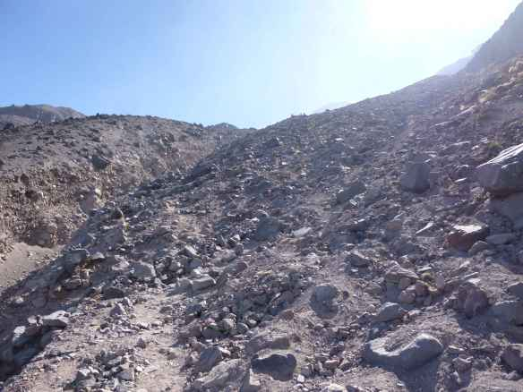 Heading up the lower mountain's scree.