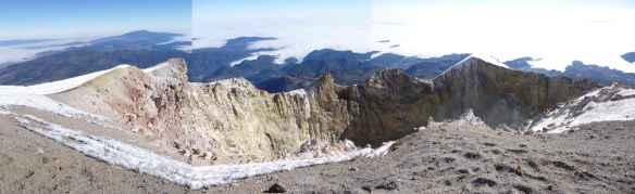 A rough panorama of the summit crater.
