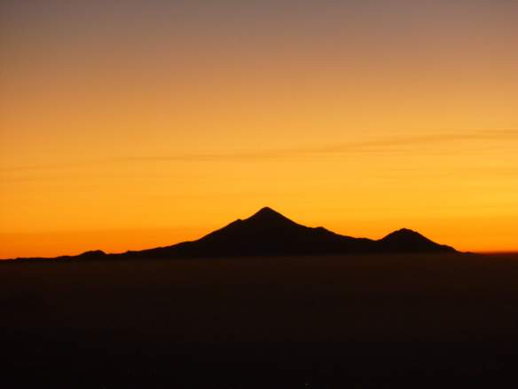 My view of Orizaba in the sunrise, from near the summit of Iztaccihuatl.