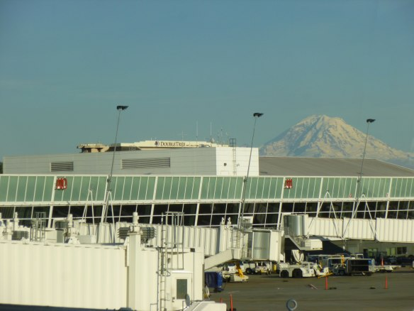 Rainier on the horizon, past the Sea-Tac Airport in Seattle.