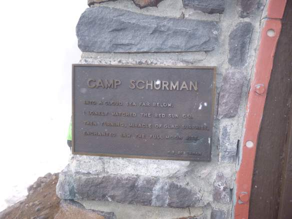 A plaque on the hut bears an engraved poem, by Camp Schurman's namesake.