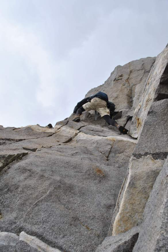 The scrambling quickly transitioned into exposed climbing.
