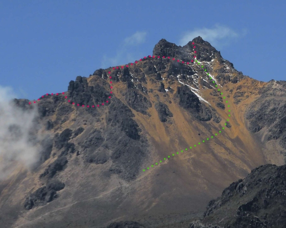 A rough diagram of the route near the top of Illiniza Norte - down and around the two false summits, descending via scree on the mountain's northern slopes.