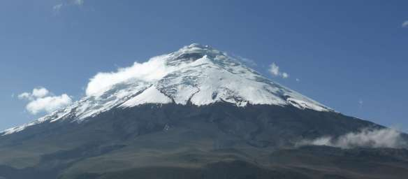 Cotopaxi - Yanasacha is the prominent rock band near the summit.