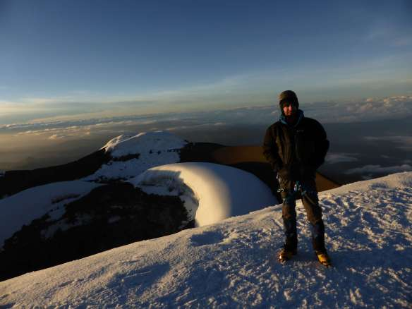 On the summit of Cotopaxi.