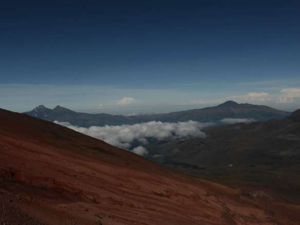 View from near the refuge.  The Illinizas to the left, Corazon to the right.