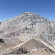 View of Aconcagua and the Normal Route from Bonete's summit.