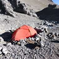 My tent and wind wall at Nido de Condores.