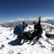 Nicolas Miranda and Karl Egloff, two friendly Ecuadorians who were training for an attempt at a record ascent time. They were later successful.