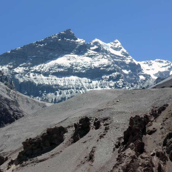 Aconcagua from the trail between Horcones and Confluencia.