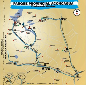 A map of the Aconcagua Provincial Park.