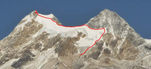 My route of ascent, avoiding climbing directly up the main slopes wherever possible.