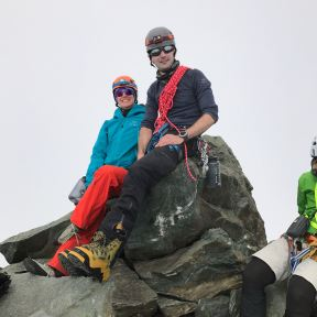 On the summit. Stylish Koflachs!
