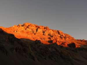 Aconcagua at sunset, from Plaza de Mulas.