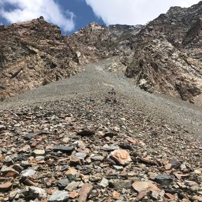 The enormous scree traverse.