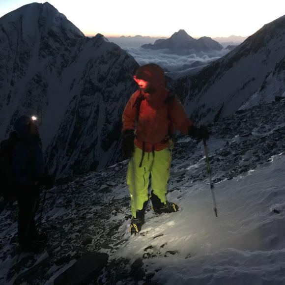 Climbing at dawn.